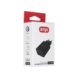 Мережева зарядка ERGO EWC-130QC 1xUSB Wall Charger QC3.0 18W  Black