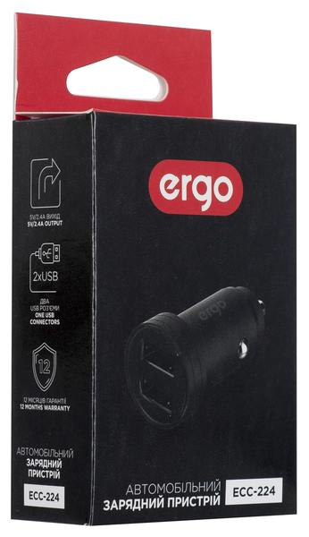 Автозарядка ERGO ECC-224 Mini 2.4A 2xUSB Car Charger Black зображення 2