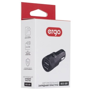 Автозарядка ERGO ECC-221 2.1A 2xUSB Car Charger Black